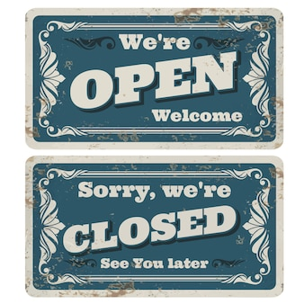 Retro open en gesloten winkel of pub tekenen met roestige metalen textuur