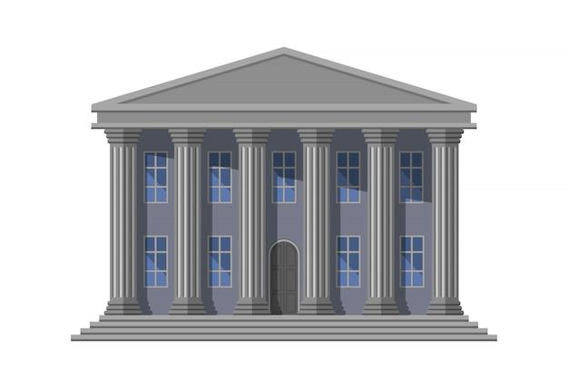 Retro openbaar gebouw met kolommen