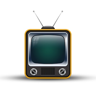 Retro oude televisie die op witte achtergrond wordt geïsoleerd