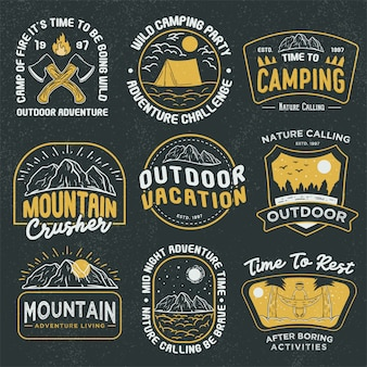 Retro outdoor avontuur badges logo-collectie