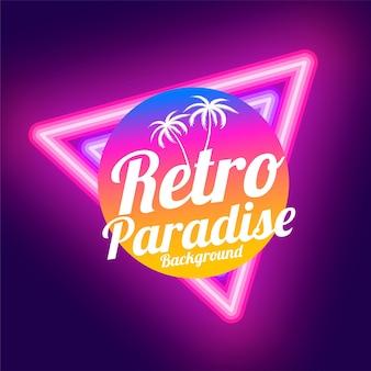 Retro paradijs neon achtergrondontwerp