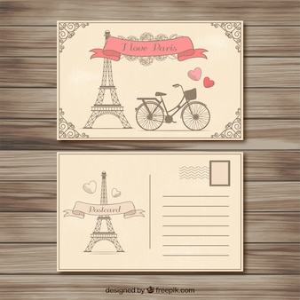 Retro parijs postkaart