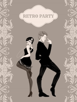 Retro partij kaart, man en vrouw gekleed in jaren 1920 stijl dansen, flapper meisjes knappe jongen in vintage pak, jaren twintig, illustratie