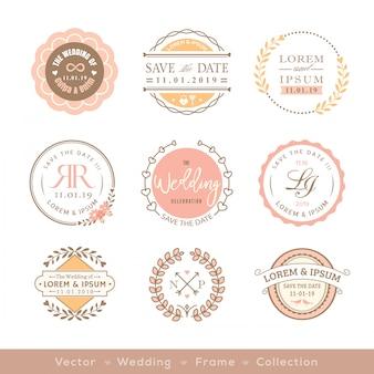 Retro pastel bruiloft logo frame badge ontwerpelement