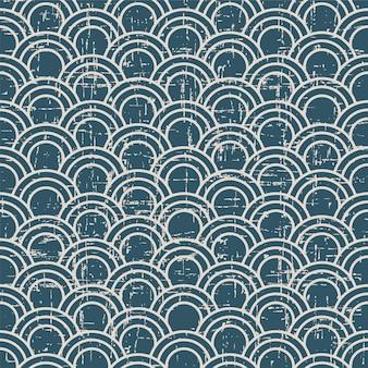 Retro patroon met oosterse visschaal kromme lijn