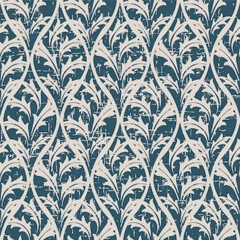 Retro patroon met vintage natuur blad kruis