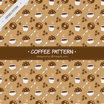 Retro patroon van snoep en hand getrokken koffiemokken