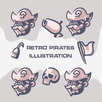 Retro piraten illustraties