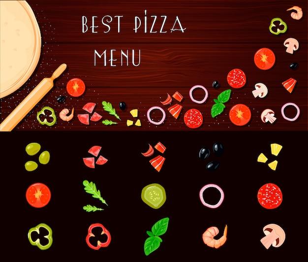 Retro pizza-ingrediënten van de cartoonstijl instellen