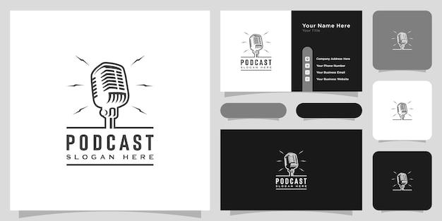 Retro podcast bruikbare logo-sjabloon