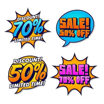 Retro pop-art sticker voor promotie
