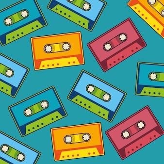 Retro pop-artpatroon van de cassettemuziek