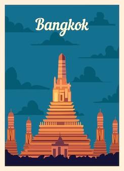 Retro poster bangkok skyline van de stad.