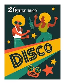 Retro-poster. disco in de stijl van de jaren 80.
