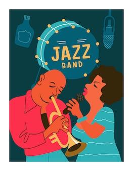 Retro-poster. jazzfeestje. trompettist en jazzzanger.