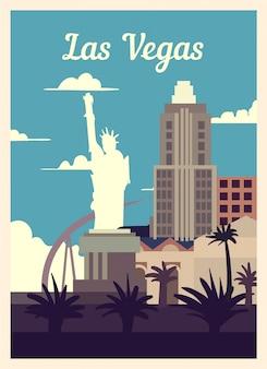 Retro poster las vegas skyline van de stad.