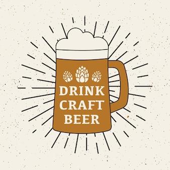 Retro poster met bier van het vat.