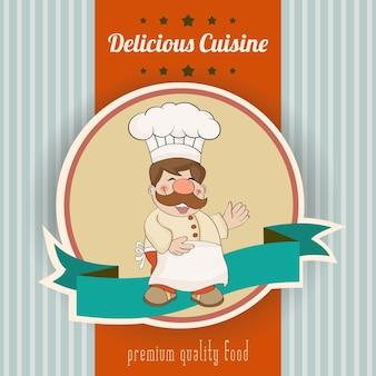 Retro poster met chef-kok en heerlijk gerechtenbericht