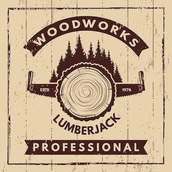Retro poster met monochrome symbolen van houtzagerij en houthakker