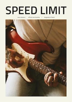 Retro poster sjabloon vector met een man die gitaar speelt