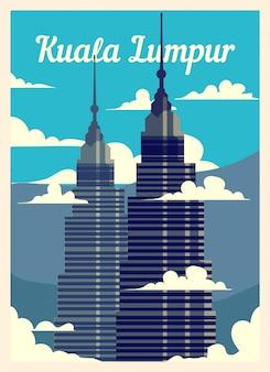 Retro poster skyline van de stad van kuala lumpur.