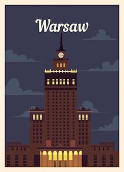 Retro poster skyline van de stad warschau.