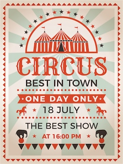 Retro poster uitnodiging voor circus of carnaval show