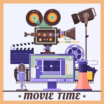 Retro poster van het bioscoopconcept met megafoon, lamp, microfoon, monitor, camcorder, realistische gedetailleerde vectorillustratie