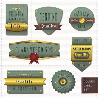 Retro premium kwaliteit gouden labels collectie over wit