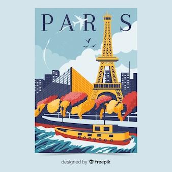 Retro promotie-poster van parijs sjabloon
