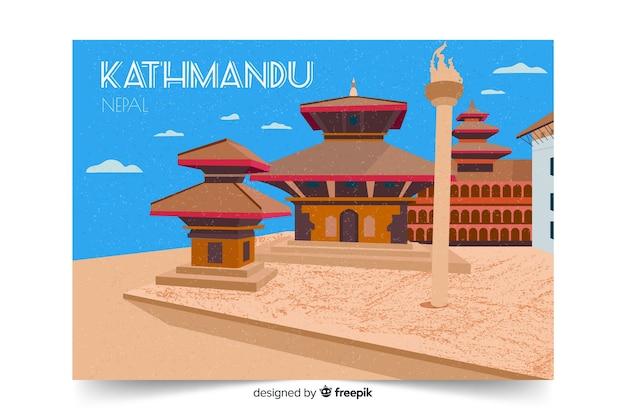 Retro promotieposter van de sjabloon van katmandu