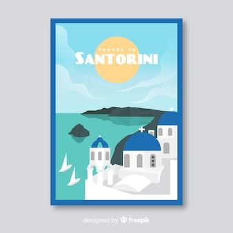 Retro promotionele folder van santorini-sjabloon