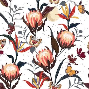 Retro protea bloeit botanische naadloze patroonvector