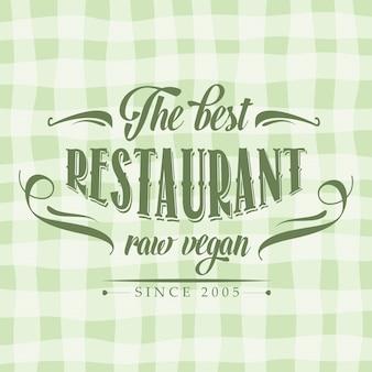 Retro rauwe veganistische restaurantaffiche