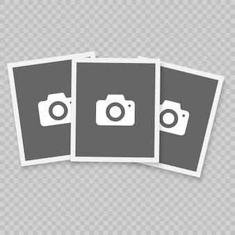 Retro realistisch vectorfotoframe, het ontwerp van de malplaatjefoto. geïsoleerd op transparante achtergrond