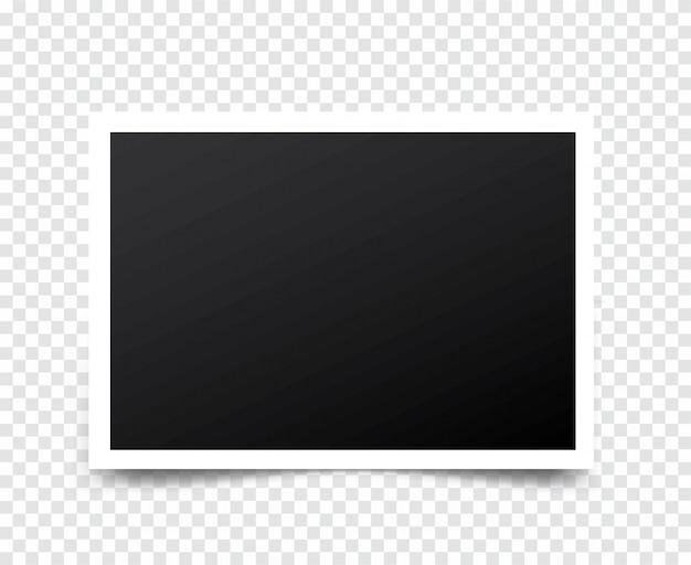 Retro realistische fotolijst met schaduw vector mockup geplaatst op transparant