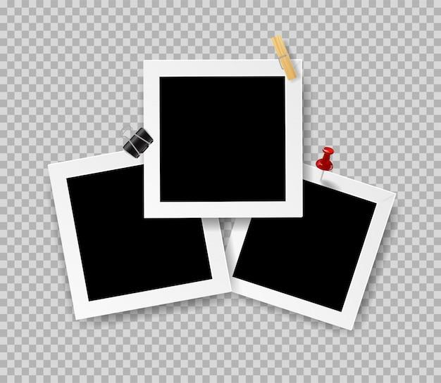 Retro realistische fotolijsten met paperclip