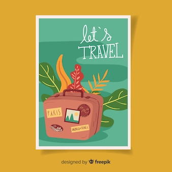 Retro reizen poster platte ontwerp