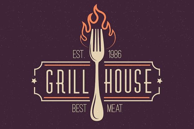 Retro restaurant logo met vork