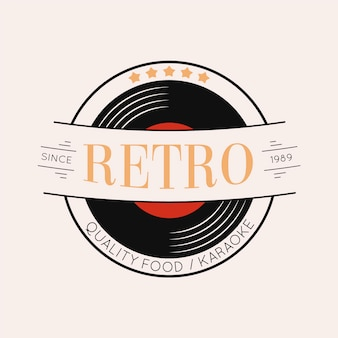 Retro restaurant logo-ontwerp met vinyl