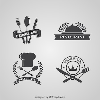 Retro restaurant logo pack