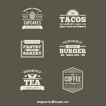 Retro restaurants labels