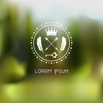 Retro ronde stempel frame op groene achtergrond wazig