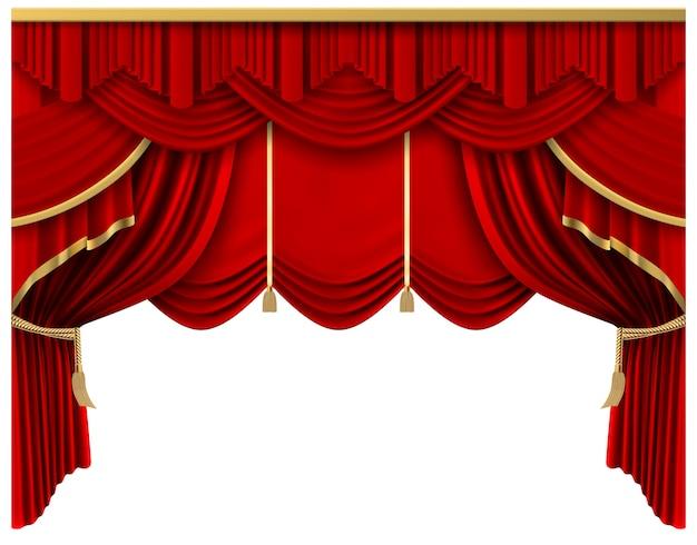 Retro rood podiumgordijn. realistische luxe zijden gordijnen, theater scene interieur draperie decoratie, portiere gordijnen illustratie. premièreceremonie, bioscoopportiere-entertainment