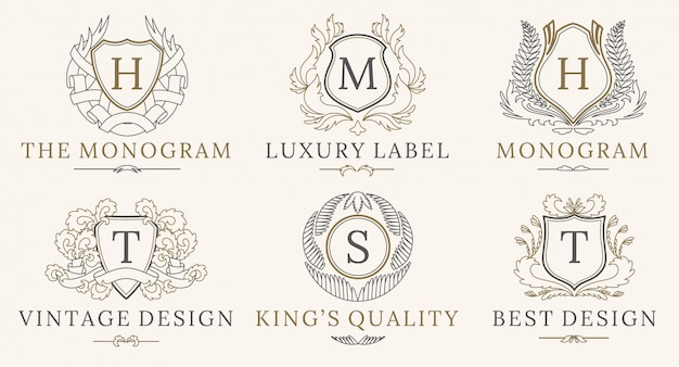 Retro royal vintage shields logo-set