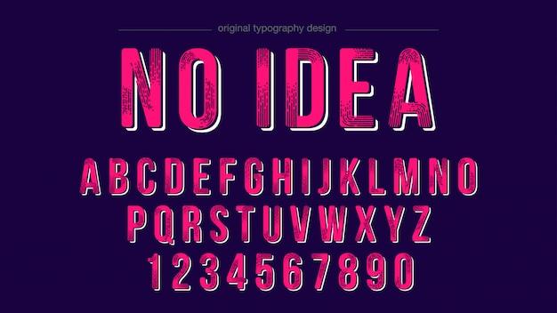 Retro roze vet lettertype alfabet ontwerp