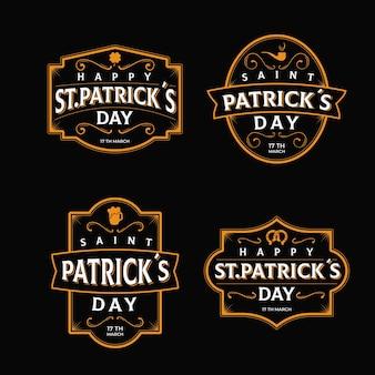 Retro saint patrick's day labelcollectie