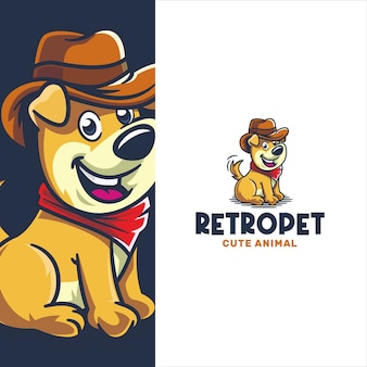 Retro schattige hond met cowboyhoed logo sjabloon
