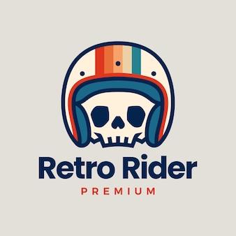 Retro schedel helm rider motorfiets club logo pictogram illustratie