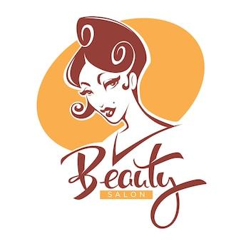 Retro schoonheid, dame portret voor uw schoonheidssalon, product en studio label, logo, embleem